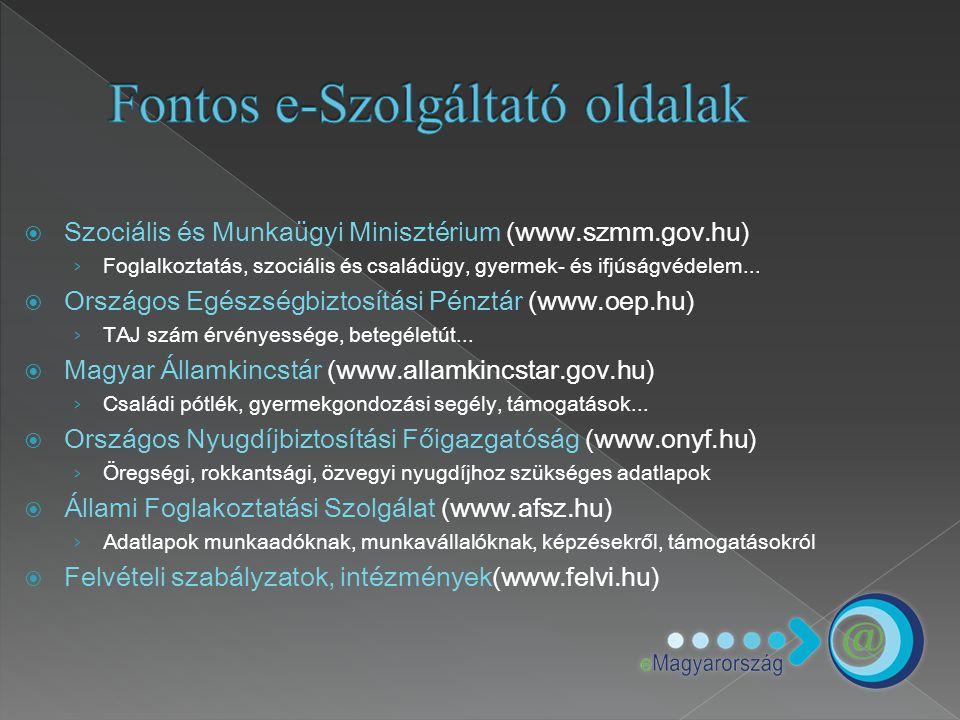 Fontos e-Szolgáltató oldalak