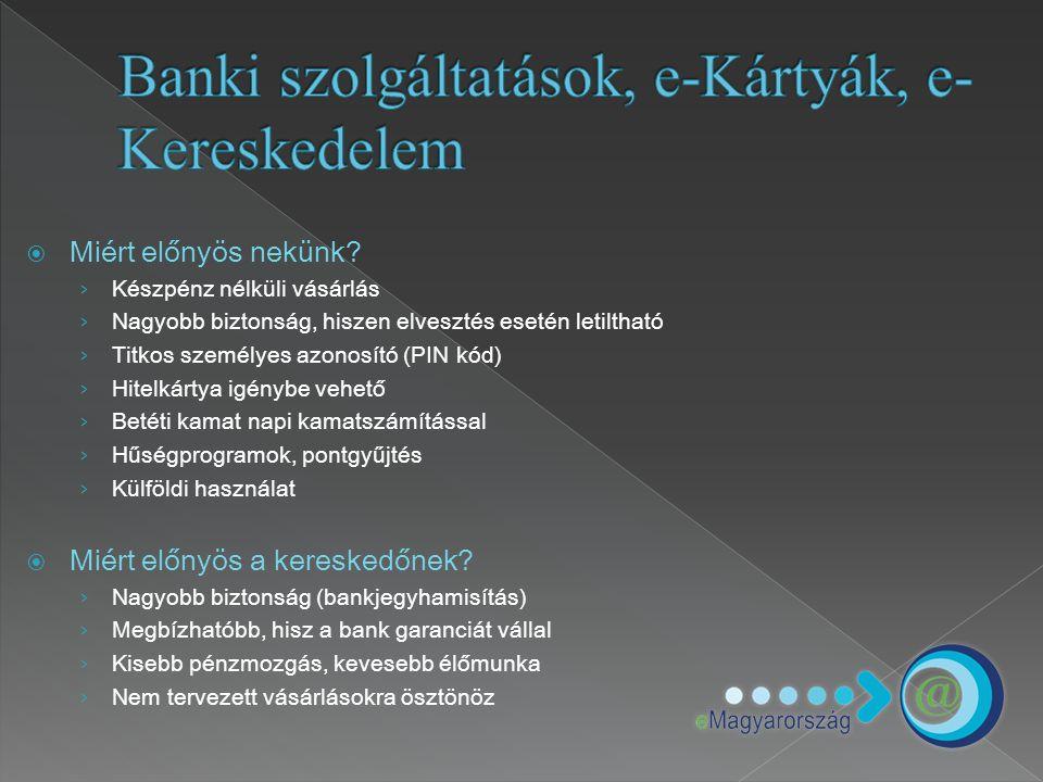 Banki szolgáltatások, e-Kártyák, e-Kereskedelem