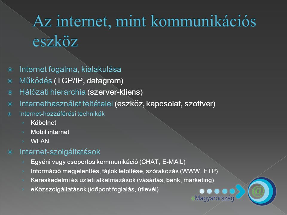 Az internet, mint kommunikációs eszköz