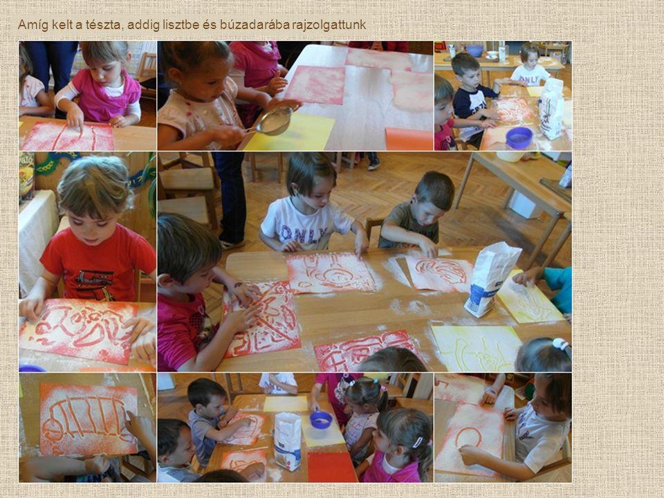Amíg kelt a tészta, addig lisztbe és búzadarába rajzolgattunk