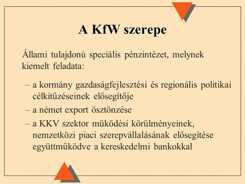 A KfW szerepe Állami tulajdonú speciális pénzintézet, melynek kiemelt feladata: