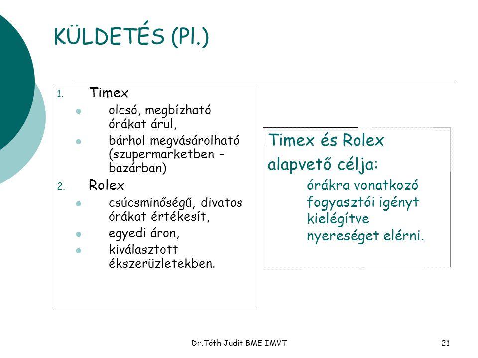 KÜLDETÉS (Pl.) Timex és Rolex alapvető célja: Timex Rolex