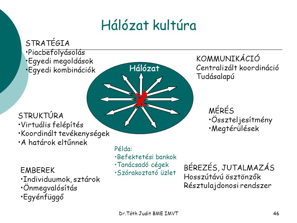 Hálózat kultúra Hálózat STRATÉGIA Piacbefolyásolás Egyedi megoldások