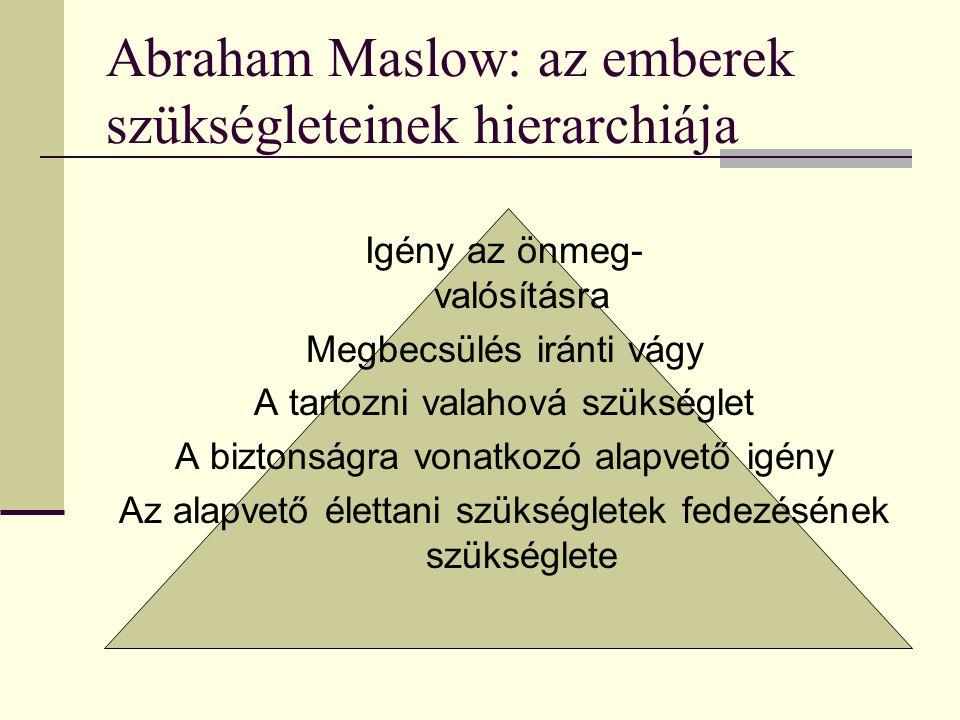Abraham Maslow: az emberek szükségleteinek hierarchiája