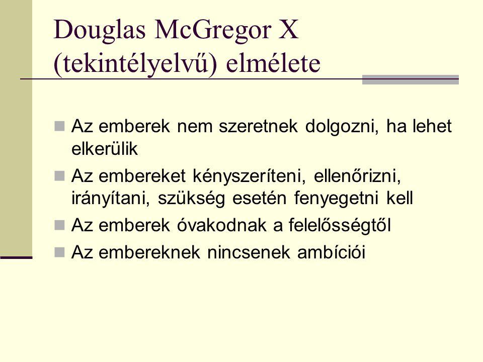 Douglas McGregor X (tekintélyelvű) elmélete
