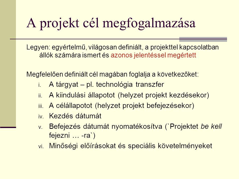A projekt cél megfogalmazása