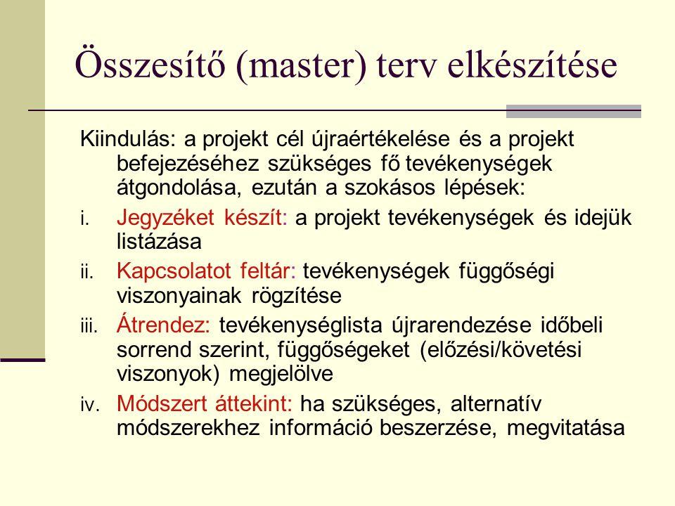 Összesítő (master) terv elkészítése
