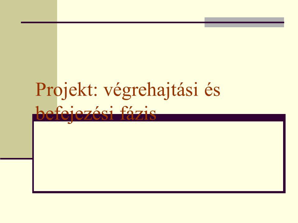 Projekt: végrehajtási és befejezési fázis