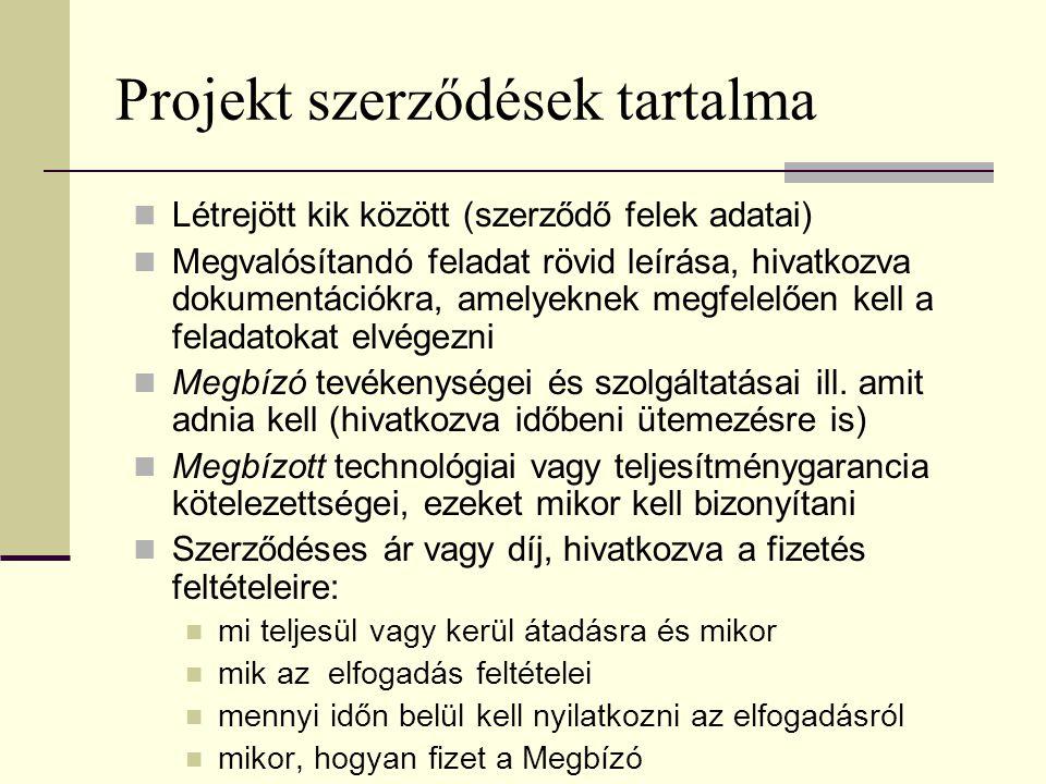Projekt szerződések tartalma