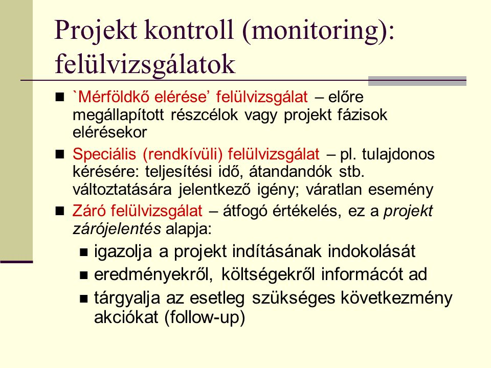 Projekt kontroll (monitoring): felülvizsgálatok