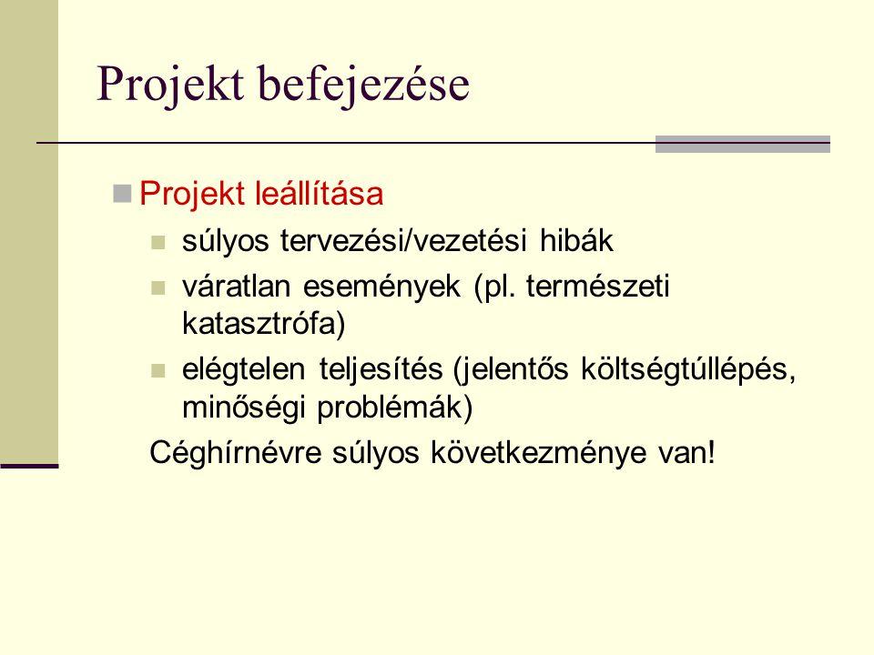 Projekt befejezése Projekt leállítása súlyos tervezési/vezetési hibák