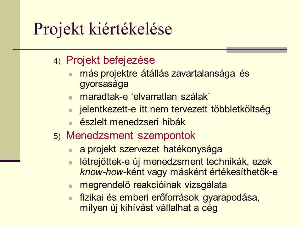 Projekt kiértékelése Projekt befejezése Menedzsment szempontok