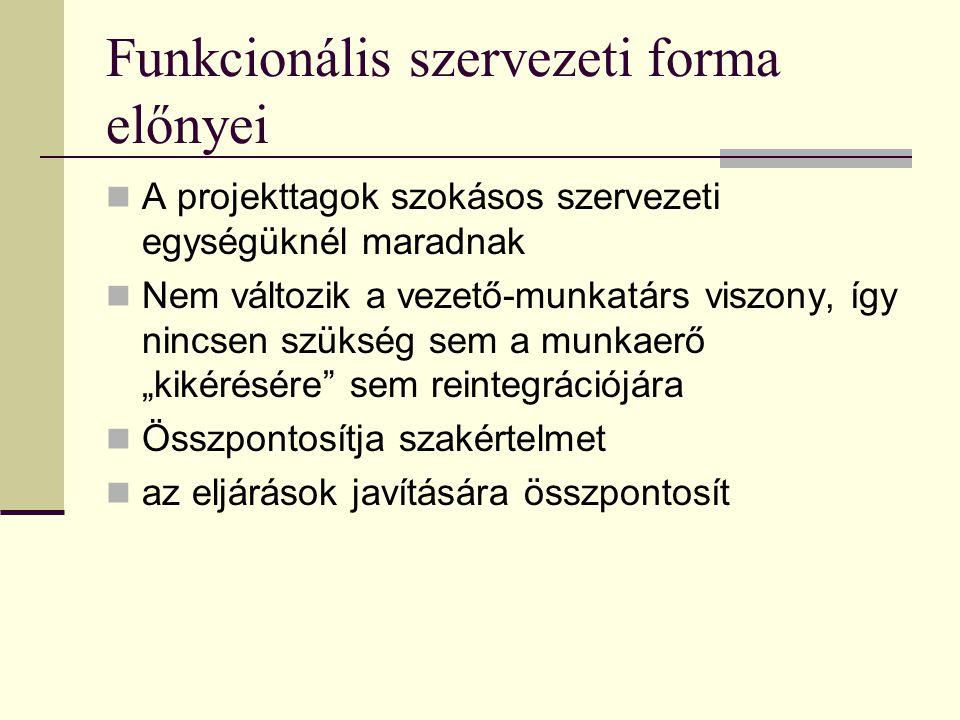 Funkcionális szervezeti forma előnyei
