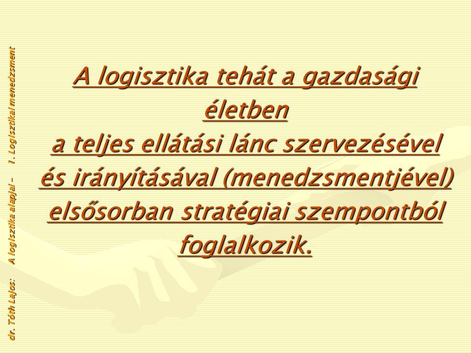 A logisztika tehát a gazdasági életben a teljes ellátási lánc szervezésével és irányításával (menedzsmentjével) elsősorban stratégiai szempontból foglalkozik.