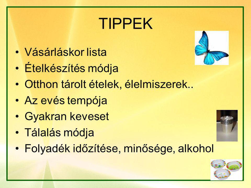 TIPPEK Vásárláskor lista Ételkészítés módja