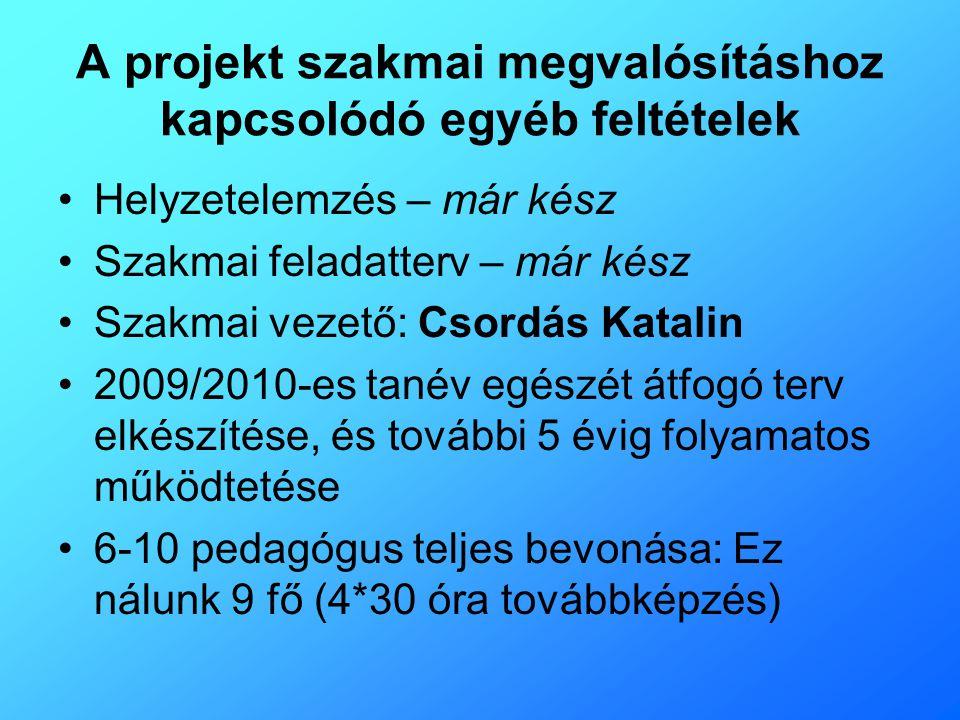 A projekt szakmai megvalósításhoz kapcsolódó egyéb feltételek