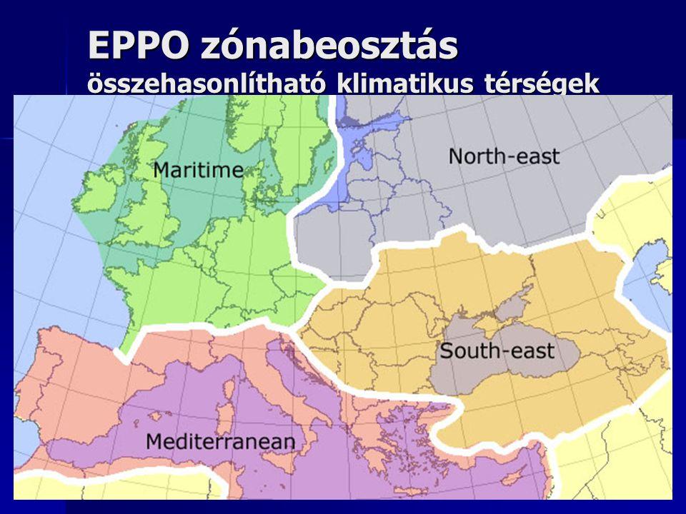 EPPO zónabeosztás összehasonlítható klimatikus térségek