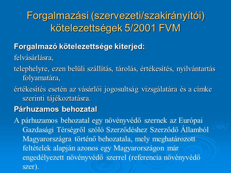 Forgalmazási (szervezeti/szakirányítói) kötelezettségek 5/2001 FVM
