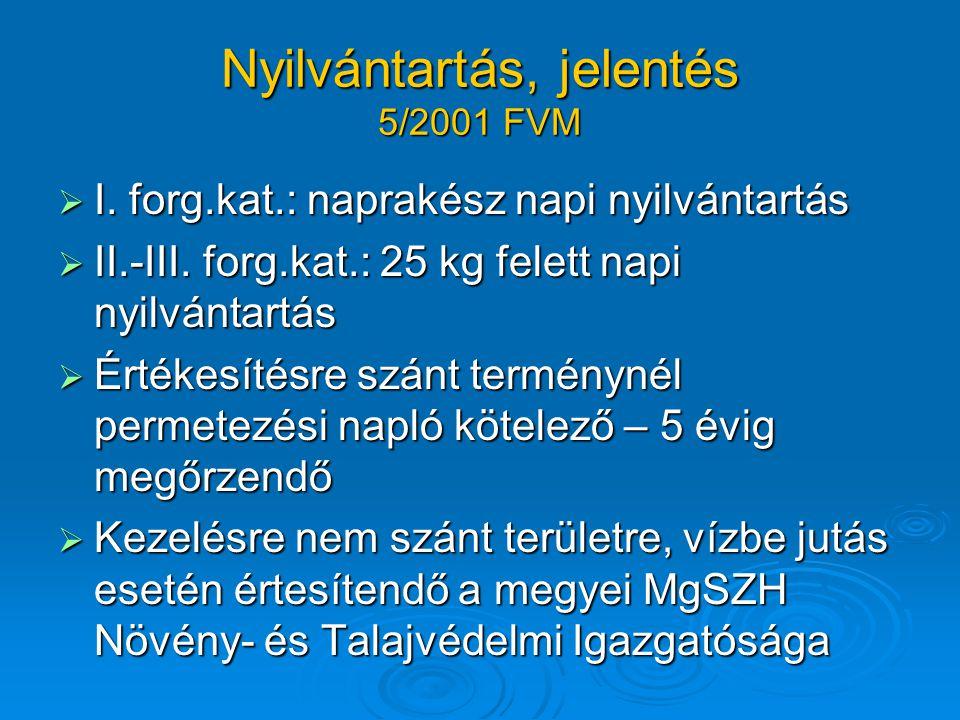 Nyilvántartás, jelentés 5/2001 FVM