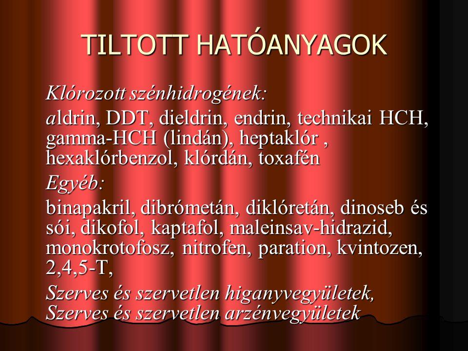 TILTOTT HATÓANYAGOK Klórozott szénhidrogének: