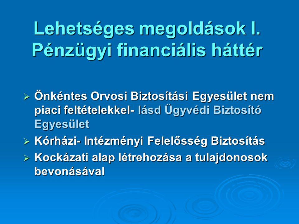 Lehetséges megoldások I. Pénzügyi financiális háttér