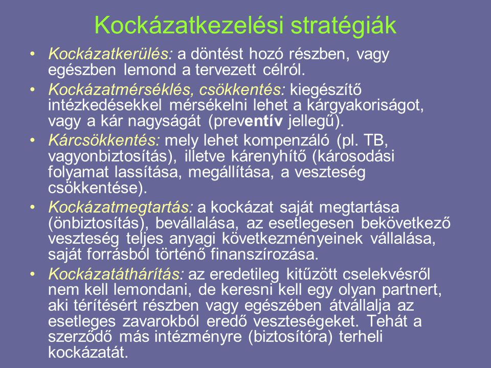Kockázatkezelési stratégiák