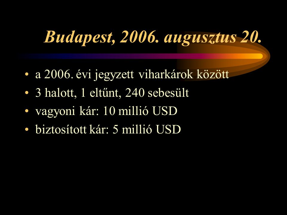 Budapest, 2006. augusztus 20. a 2006. évi jegyzett viharkárok között