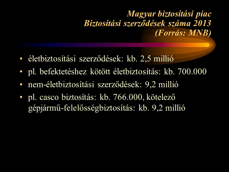 Magyar biztosítási piac Biztosítási szerződések száma 2013 (Forrás: MNB)