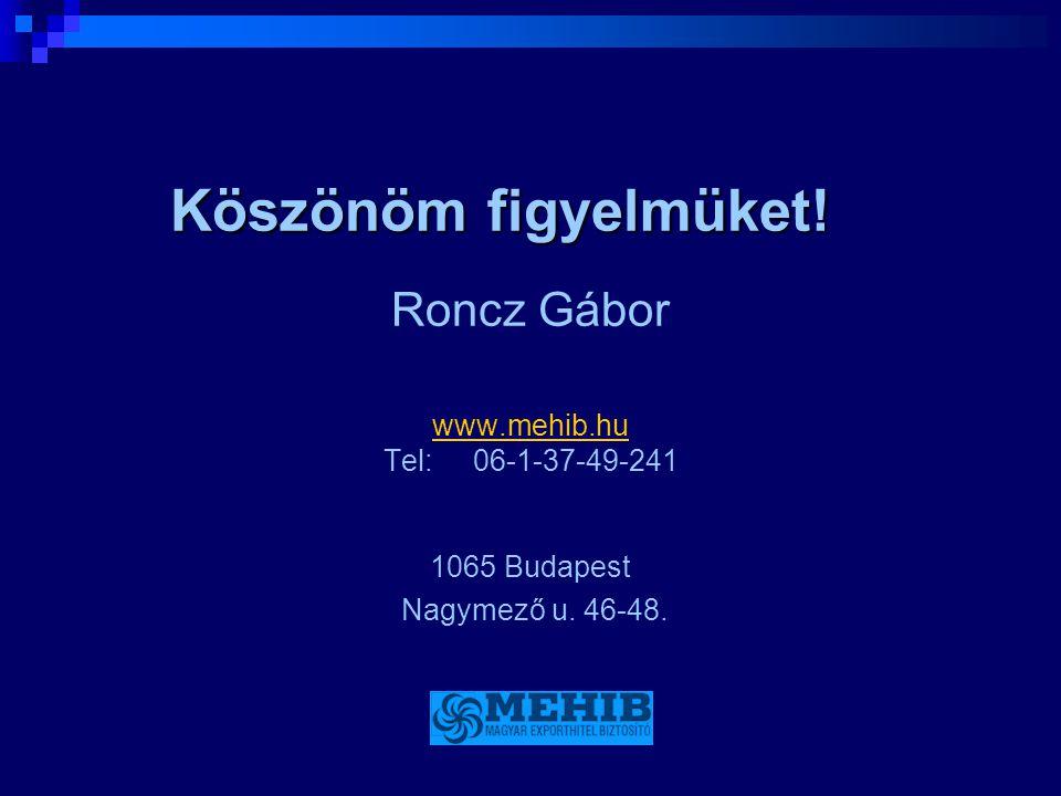 Köszönöm figyelmüket! Roncz Gábor www.mehib.hu Tel: 06-1-37-49-241