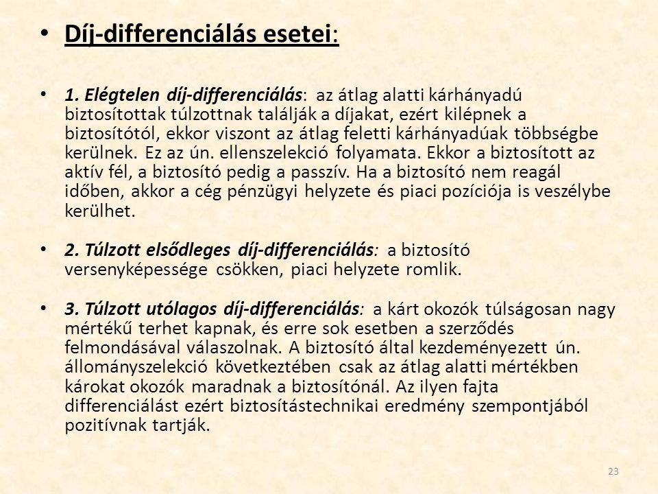 Díj-differenciálás esetei: