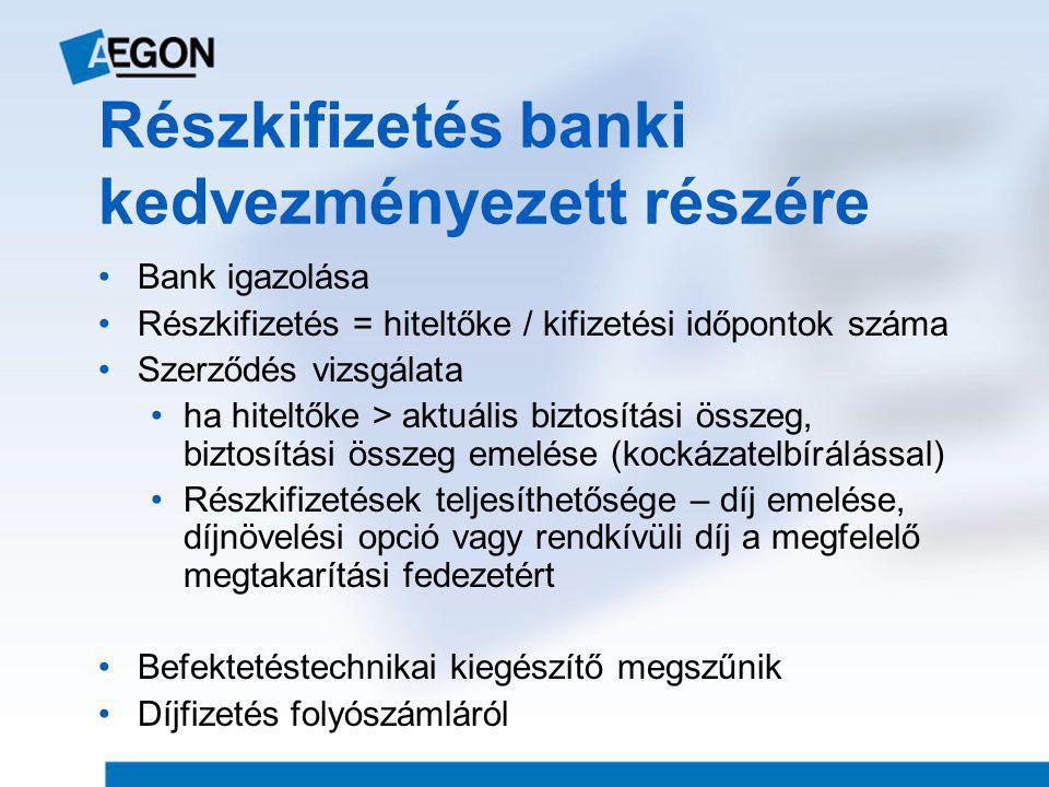 Részkifizetés banki kedvezményezett részére