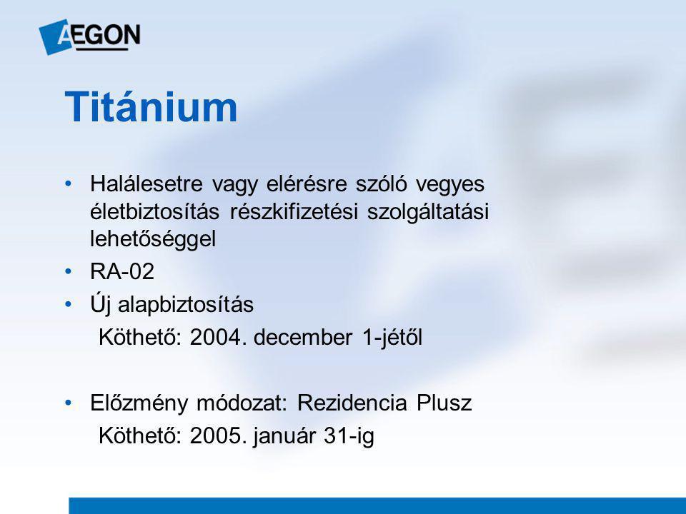 Titánium Halálesetre vagy elérésre szóló vegyes életbiztosítás részkifizetési szolgáltatási lehetőséggel.