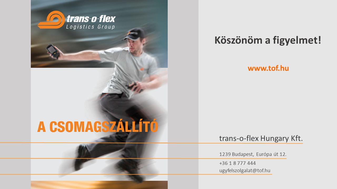 Köszönöm a figyelmet! www.tof.hu trans-o-flex Hungary Kft.