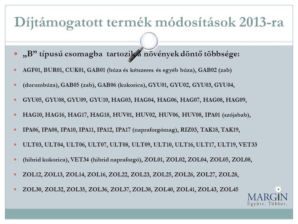 Díjtámogatott termék módosítások 2013-ra