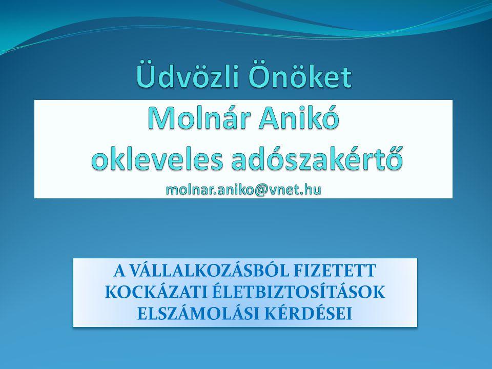 Üdvözli Önöket Molnár Anikó okleveles adószakértő molnar.aniko@vnet.hu