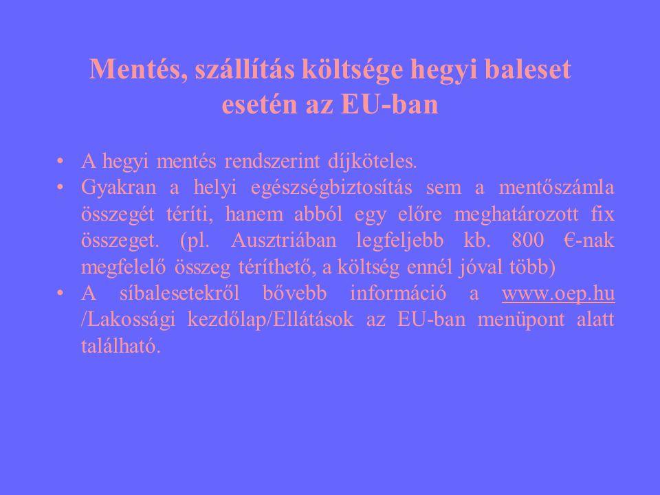 Mentés, szállítás költsége hegyi baleset esetén az EU-ban