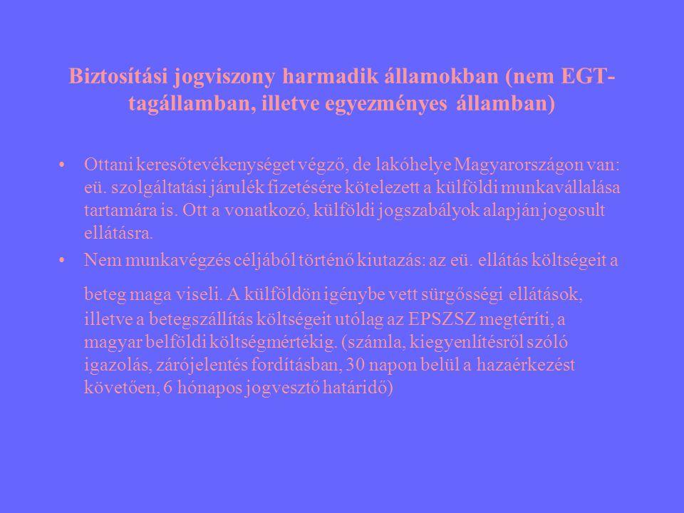 Biztosítási jogviszony harmadik államokban (nem EGT-tagállamban, illetve egyezményes államban)