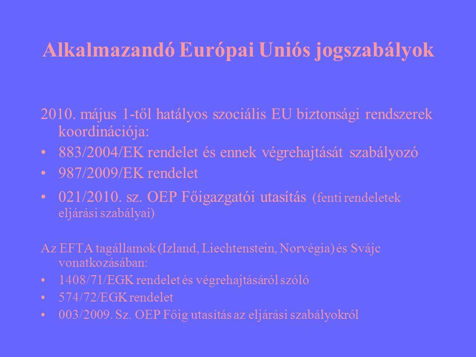 Alkalmazandó Európai Uniós jogszabályok