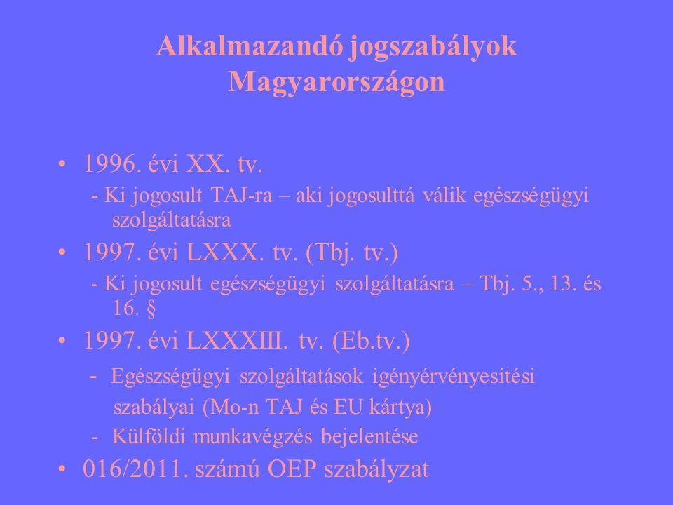 Alkalmazandó jogszabályok Magyarországon