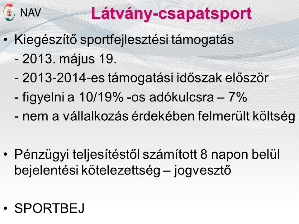 Látvány-csapatsport Kiegészítő sportfejlesztési támogatás
