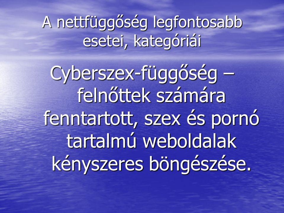 A nettfüggőség legfontosabb esetei, kategóriái