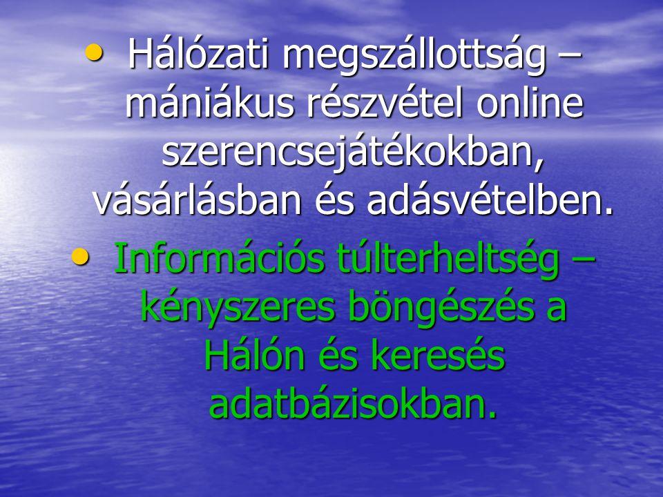 Hálózati megszállottság – mániákus részvétel online szerencsejátékokban, vásárlásban és adásvételben.