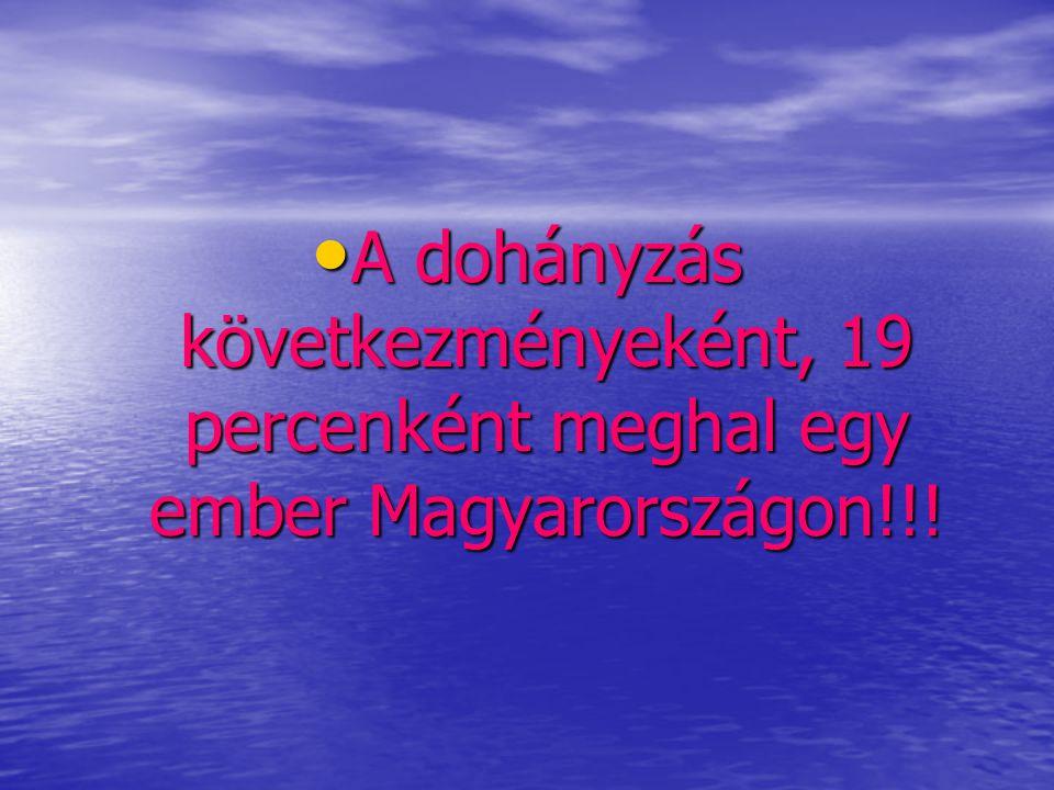 A dohányzás következményeként, 19 percenként meghal egy ember Magyarországon!!!