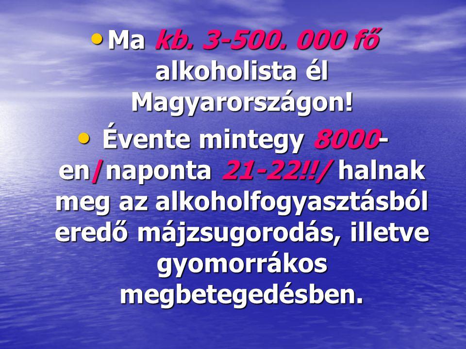 Ma kb. 3-500. 000 fő alkoholista él Magyarországon!