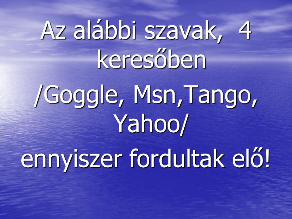 Az alábbi szavak, 4 keresőben /Goggle, Msn,Tango, Yahoo/