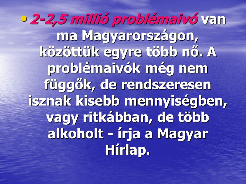 2-2,5 millió problémaivó van ma Magyarországon, közöttük egyre több nő