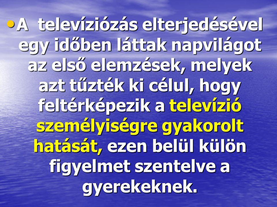 A televíziózás elterjedésével egy időben láttak napvilágot az első elemzések, melyek azt tűzték ki célul, hogy feltérképezik a televízió személyiségre gyakorolt hatását, ezen belül külön figyelmet szentelve a gyerekeknek.