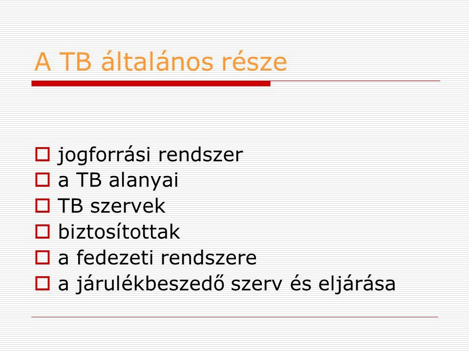 A TB általános része jogforrási rendszer a TB alanyai TB szervek