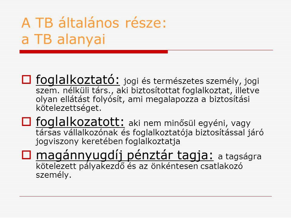 A TB általános része: a TB alanyai