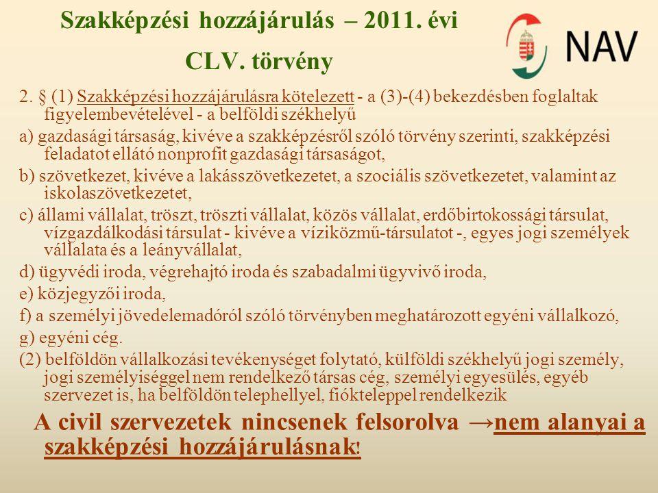 Szakképzési hozzájárulás – 2011. évi CLV. törvény